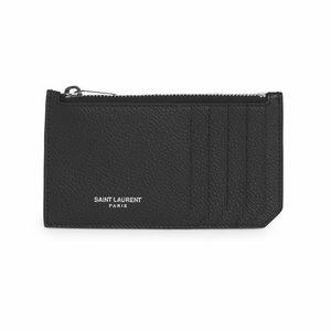 Saint Laurent Leather Zip Card Case in Black